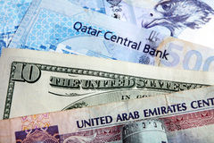 Crisi araba del riyal del dollaro dei soldi Fotografie Stock Libere da Diritti
