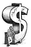 Crisi del dollaro dell'uomo d'affari Fotografia Stock Libera da Diritti