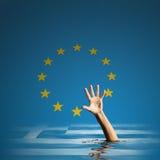 Crisi di debito della Grecia nell'illustrazione dell'Unione Europea 3d Fotografie Stock