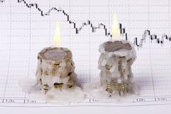 Crisi di mondo (bruciatura dei soldi) Fotografie Stock