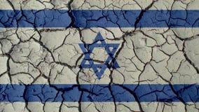 Crisi politica o crepe ambientali del fango di concetto con Israel Flag immagini stock
