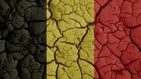 Crisi politica o crepe ambientali del fango di concetto con la bandiera del Belgio fotografie stock libere da diritti