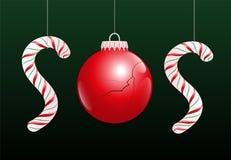Crisi SOS della palla di Natale Fotografia Stock Libera da Diritti