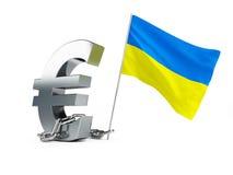 Crisi in Ucraina, segno ucraino dell'euro della bandiera Fotografia Stock
