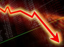 Crisis. Arrow graph going down on a stock result background Stock Image