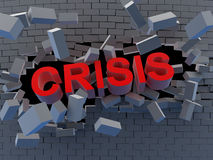 Crisis. Abstract break wall. Symbol crisis (done in 3d Stock Photos