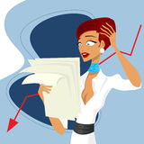 Crisis. Business woman and crisis concept vector Royalty Free Stock Photo
