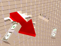 Crisis. Broken money wall on the screen - world financial crisis allegory Royalty Free Stock Images