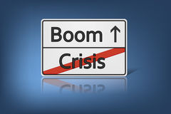 Crisis. An image of a road sign with the words Crisis and Boom Royalty Free Stock Photos