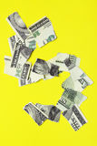 Crisis. Dollar sign over yellow background Stock Images