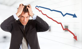 Crisis. Desperate businessman, financial crisis concept Stock Photos