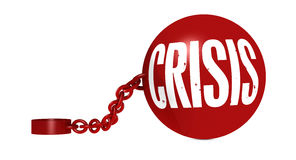 Crisis. One iron ball with a chain and the word crisis (3d render Royalty Free Stock Photos