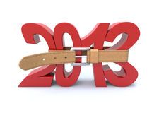Crisis in 2013. 3D concept with tighten belt and number 2013 Stock Photo