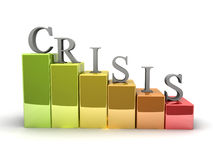 Crisis. 3D image of crisis chart,  on white Royalty Free Stock Photo