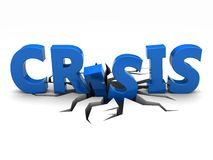 Crisis. Blue word crisis over crack Royalty Free Stock Photos