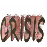 Crisis. Written in 3d with bricks, some of them breaking, surrounded by white background Stock Images