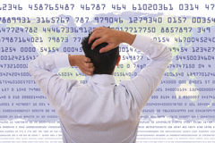 Crisis. Concept - Stressed man looking to statistic numbers Royalty Free Stock Image