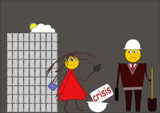 Crisis. Builders out of employment. Man and woman with build instruments. Cartoon image Royalty Free Stock Image