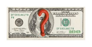 Crisis. One hundred dollar with plasticine question mark stock photo