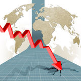 Economic crisis: output in decline. Illustration of economic crisis showing countries in five continents  with a broad red arrow  pointing down and going through Royalty Free Stock Photography