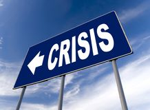 Crisis. Global financial crisis - billboard and cloudy sky Royalty Free Stock Images