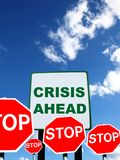 Crisis ahead. Warning signs on sky background Stock Photography