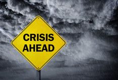 Crisis ahead sign Royalty Free Stock Photo