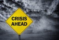 Crisis ahead sign royalty free stock photo