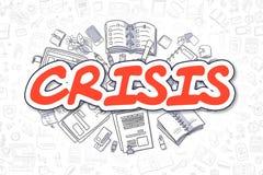 Crisis - Beeldverhaal Rode Tekst Bedrijfs concept stock illustratie