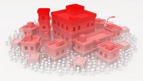 Crisis blanca de la ciudad de los edificios de la muchedumbre stock de ilustración