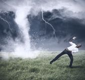 Crisis and business storm stock images