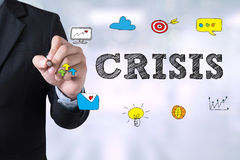 CRISIS. Businessman drawing Landing Page on blurred abstract background Royalty Free Stock Images