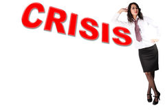 crisis - businesswoman with word Royalty Free Stock Photo