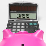 Crisis Calculator Shows Economic Panic And Worry Stock Photos