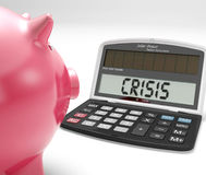 Crisis Calculator Shows Trouble In Financial Market Stock Photos