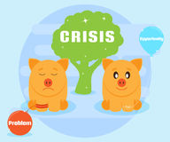 Crisis is the challenges and opportunities. Overcoming problems, achieving success. Positive attitude to the crisis Royalty Free Stock Photo