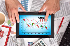 Crisis chart on screen Royalty Free Stock Images