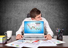 Crisis chart on screen Stock Photos