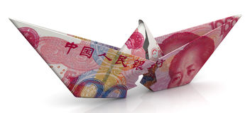 The crisis of the Chinese economy. Concept. Torn paper boat made from an Chinese banknote yuan on a white surface. Isolated. 3D Illustration Royalty Free Stock Image
