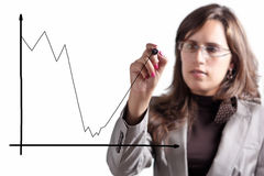 After Crisis Comes Growth. Business Woman Demonstrates that after a Moment of big Crisis comes an Exponential Growth Royalty Free Stock Photography