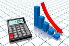 Crisis concept. 3D calculator concept - on white background Stock Photo