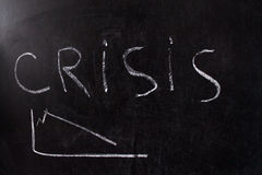 Crisis Concept. Crisis on Dark Background.chalk on a blackboard Royalty Free Stock Images