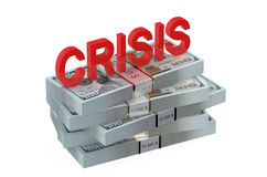 Crisis concept with dollars Stock Photography