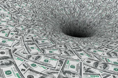 Crisis Concept. Money Flow in Black Hole. Extreme closeup royalty free stock photo