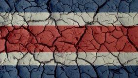 Crisis Concept: Mud Cracks With Costa Rica Flag. Political Crisis Or Environmental Concept: Mud Cracks With Costa Rica Flag stock image