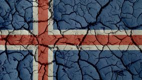 Crisis Concept: Mud Cracks With Iceland Flag. Political Crisis Or Environmental Concept: Mud Cracks With Iceland Flag royalty free stock photo