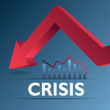 Crisis concept. Red arrow collapse as concept Royalty Free Stock Image