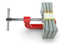 Crisis. concept of reducing costs. Vise and dollars. Stock Images