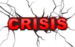 Crisis concept on white craked surface Royalty Free Stock Image