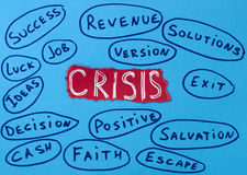 Crisis concept white text on red background. Job and solutions Royalty Free Stock Image